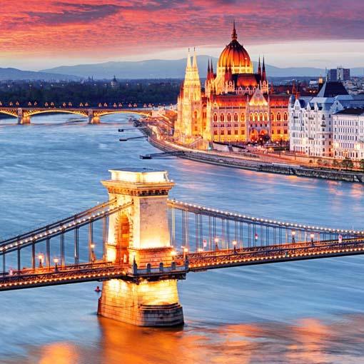 Budapest a fényben - üvegkép