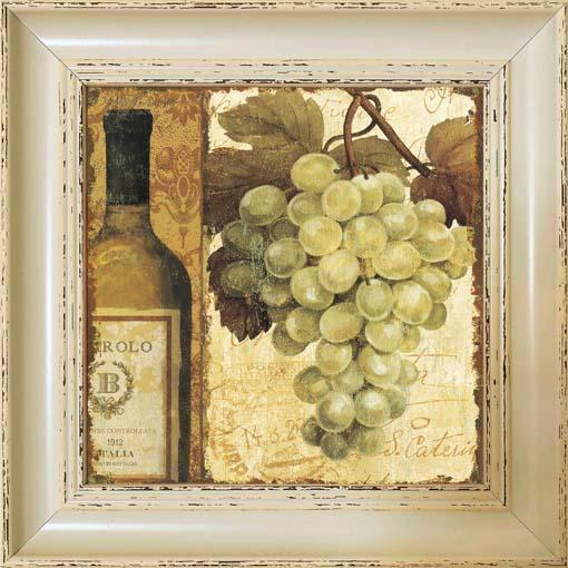 Fehérbor és szőlő - keretezett olajfestmény