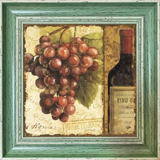 Vörös szőlő - keretezett olajfestmény