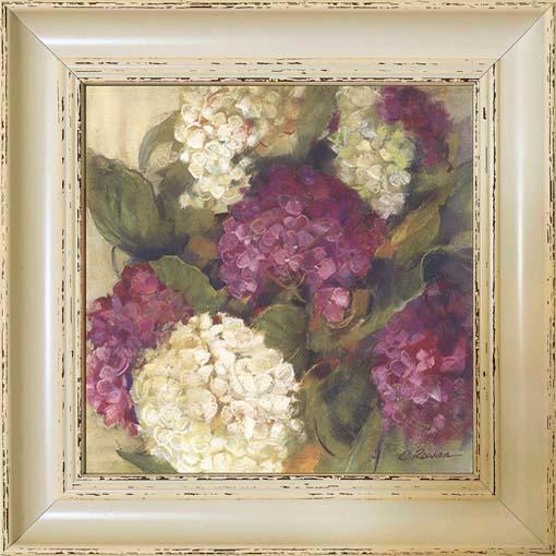 Fehér és lila szirmok - keretezett olajfestmény