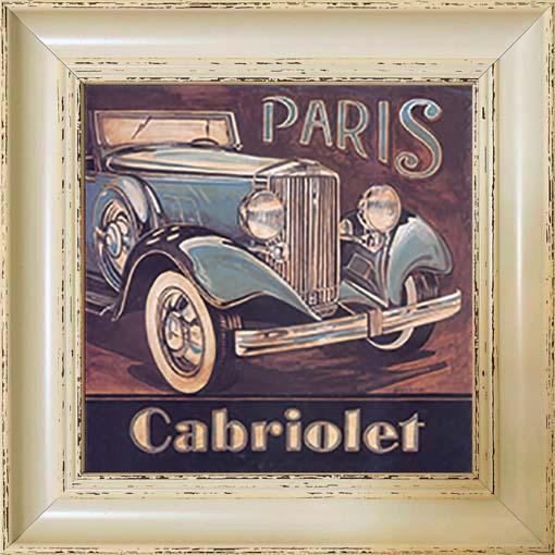 Cabriolet - keretezett olajfestmény