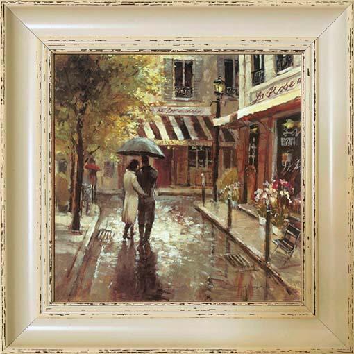 Romantikus utca - keretezett olajfestmény