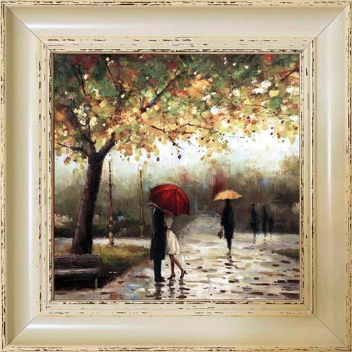 Csók az esőben - keretezett olajfestmény