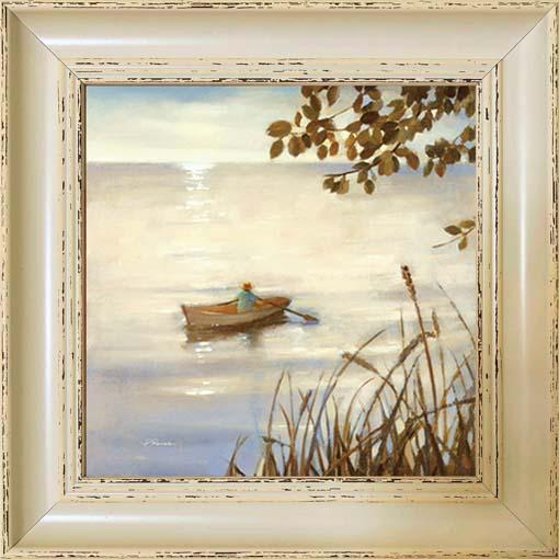 Egyedül a csónakban - keretezett olajfestmény