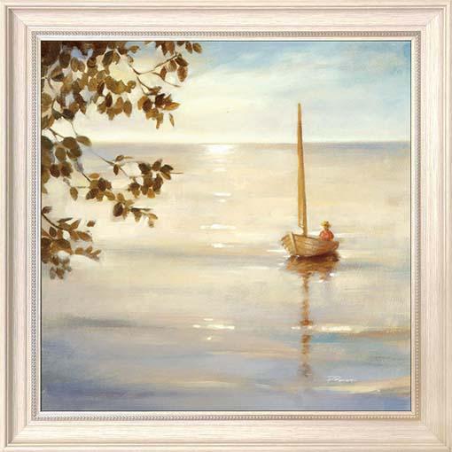 Napfelkelte a csónakban - keretezett olajfestmény