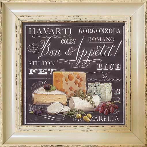 Ízletes sajtok - keretezett olajfestmény